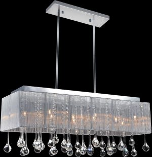 14 Light Drum Shade Chandelier with Chrome finish
