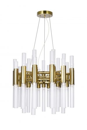 42 Light Chandelier with Brass Finish