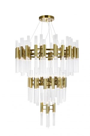 Three Tier Chandelier with Brass Finish