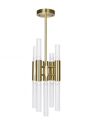 9 Light Mini Pendant with Brass Finish