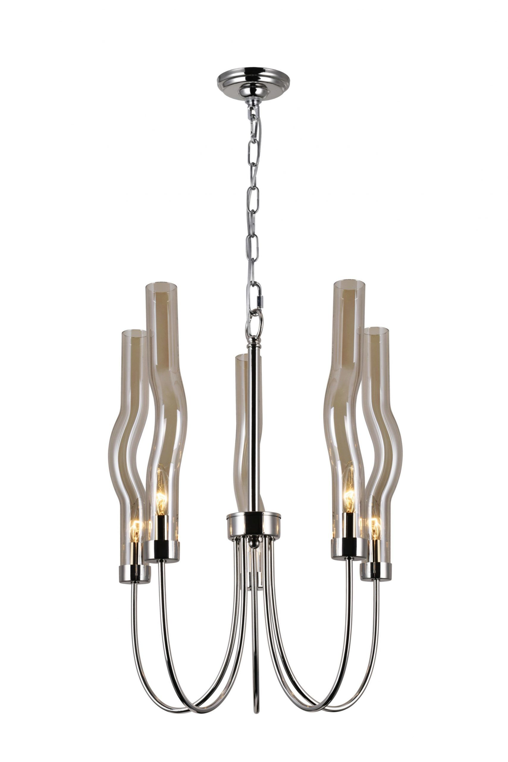 5 Light Chandelier with Polished Nickel Finish