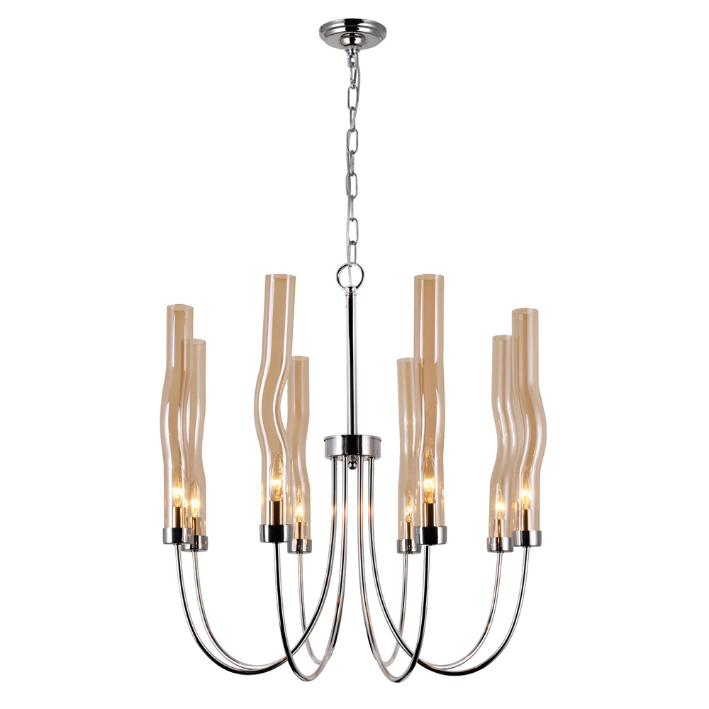 8 Light Chandelier with Polished Nickel Finish