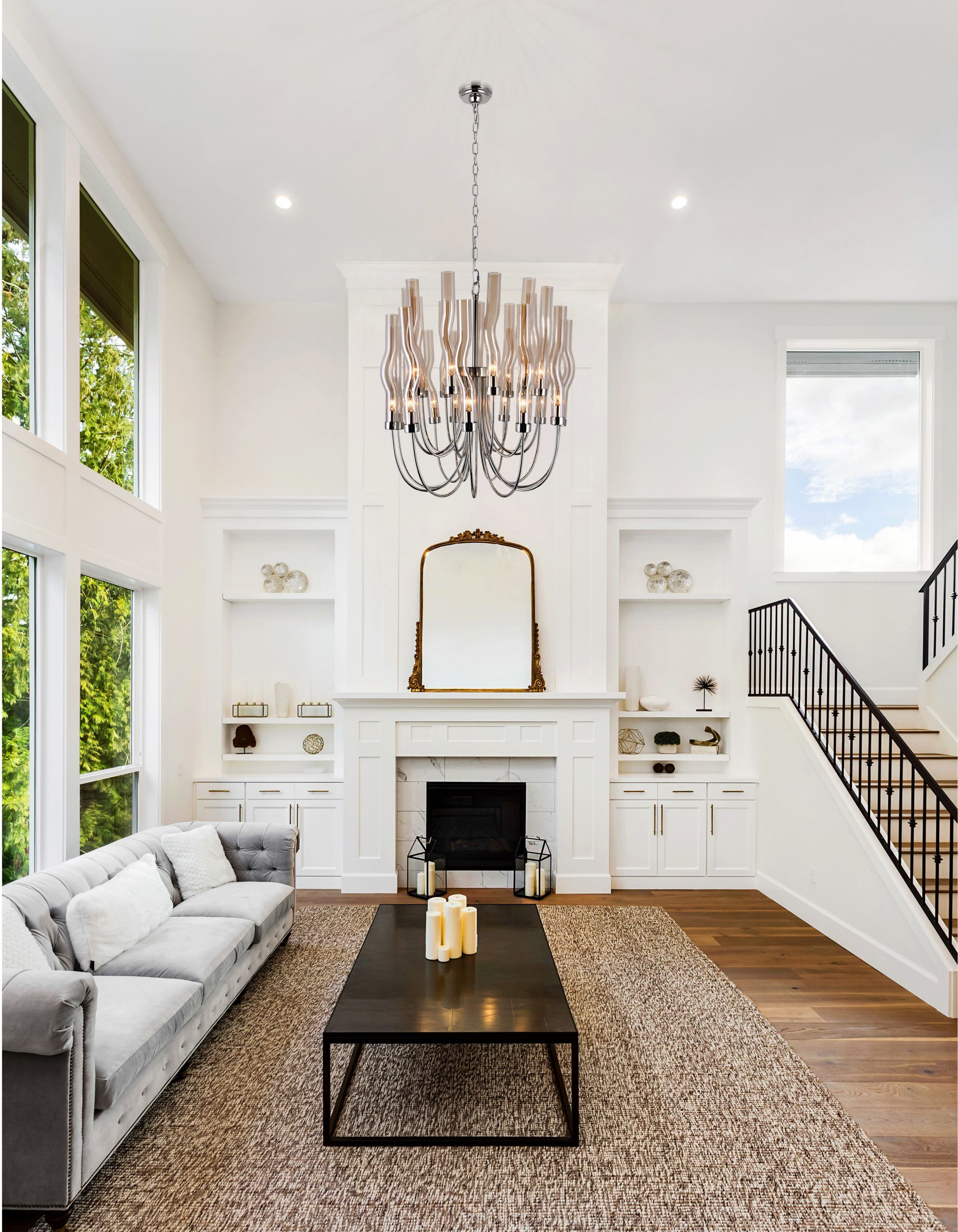 22 Light Chandelier with Polished Nickel Finish