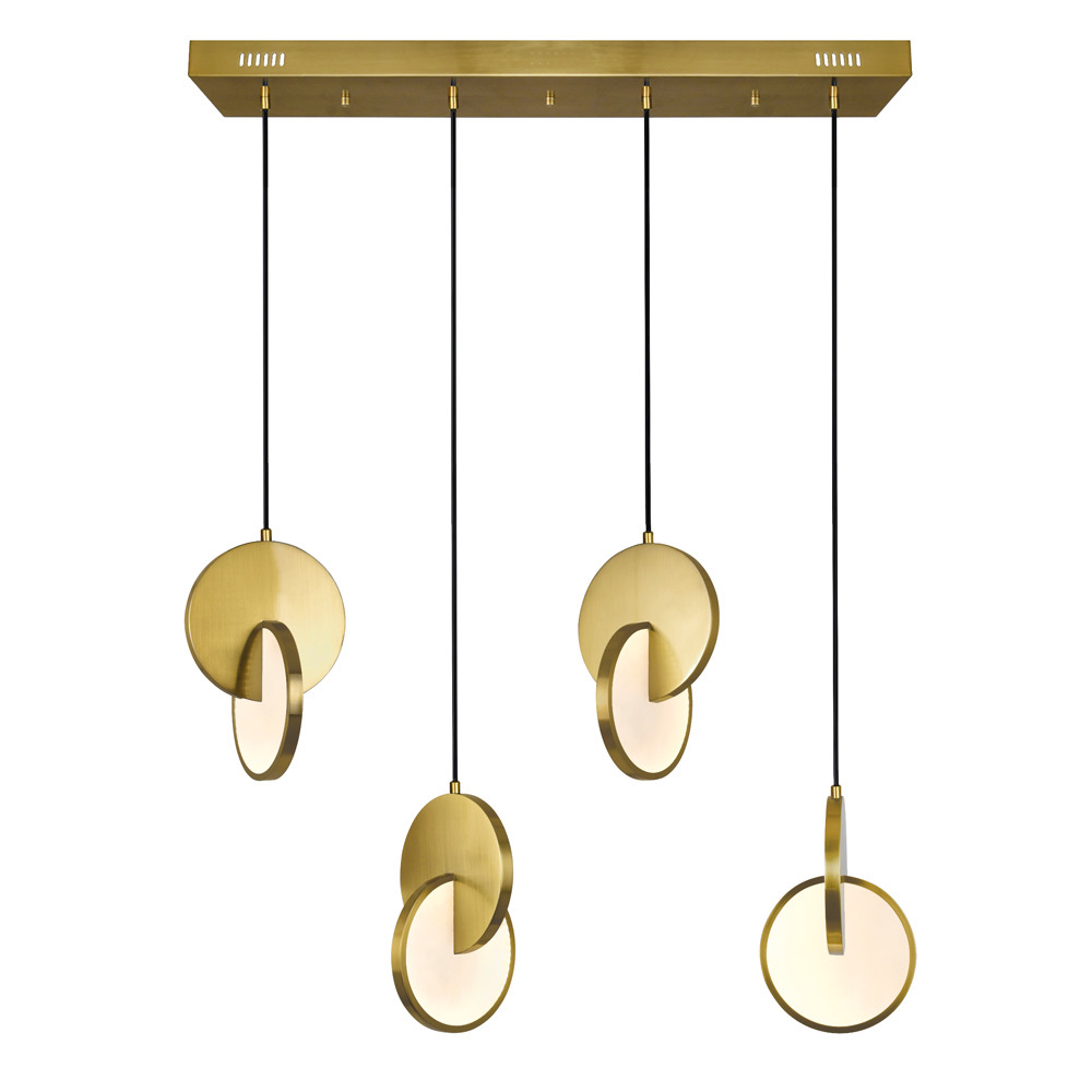 LED Island/Pool Table Chandelier with Brushed Brass Finish