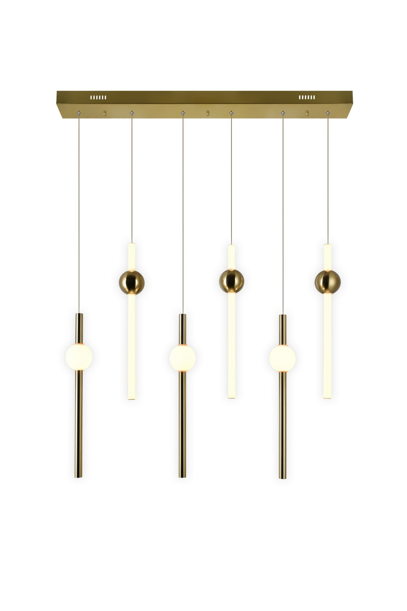 LED Island/Pool Table Chandelier with Brass Finish